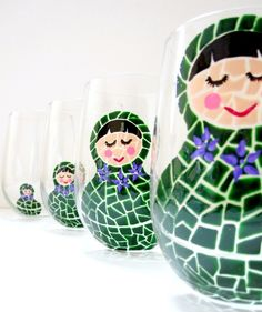 Nesting Dolls Hand Painted Wine Glasses