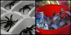 Fun idea for a Halloween or SpiderMan Party!  Toy spiders frozen inside of ice cubes!
