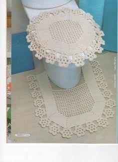 Kits para el baño crochet decoración, bathroom crochet, para baño, croch pbanheiro, para casa, barbante croche, crochet para, crochet bathroom, crochê