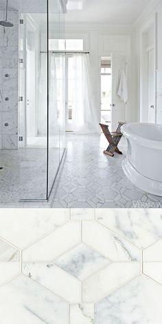 Bathroom shot from Veranda Magazine featuring Walker Zanger Studio Moderne Hollywood Grand Pattern in Calacata