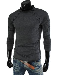 #Mens Casual Long Sleeve Button Point Round neck Tshirts    Please Help Spread The Word Share Thanks! You Are Stellar! :-)