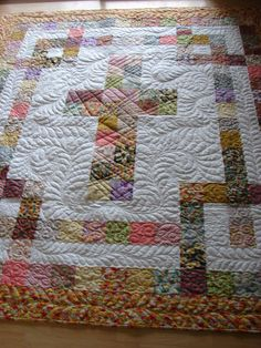 WOW She even quilted Bible Verses in it, this Cross Quilt is gorgeous!  This would be something great to quilt for a Baptism, First Holy Communion, or Confirmation, or a Wedding :)