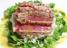 Seared Ahi Tuna Steaks with Coconut Rice Recipe from ChefIAm.com