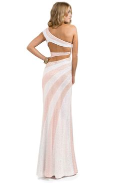 Sequined Sheath Dress with Side Slit | FLIRT Collection #prom #peachesandcream #sequins