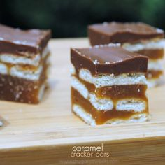 Caramel Cracker Bars: layers of crackers, caramel, and chocolate. SO GOOD!  (I made these several weeks ago, all I have to say is: DELICOUS!!!  Have to make them again soon!!!  :D  My hubby even liked them!  Which is a huge plus...he's usually a hard person to win over on new recipes, lol!)