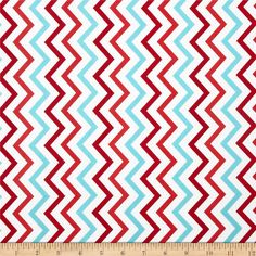 Michael Miller Mini Chic Chevron Aqua from @fabricdotcom  Designed for Michael Miller Fabrics, this fabric is perfect for quilting, apparel and home décor accents.  Colors include red, cherry and aqua on a white background.