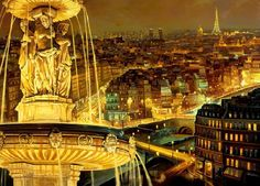 Paris at Night from Window Painted by Ruben Bore