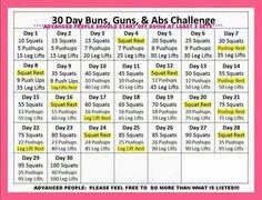 30 day buns, guns and ab challenge