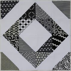 There is a strip quilt pattern to make this easy pattern. 2 colors makes it striking. Basically it is a 16 patch using HST placed strategically to make the design.