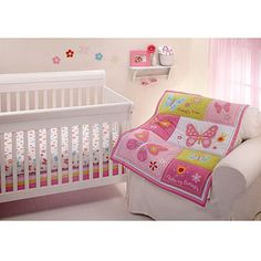 Little Bedding by NoJo Butterfly Kisses 3-Piece Crib Bedding Set Bundle