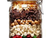 COOKIES:1Tasse de noix de coco râpé grillées, 1T de morceaux de choc mi sucre, 1/2de noix de cajou, 1T de pépites de choc blc,3/4T de m&m, 1/2T de cacao en poudre,1 1/2T de farine,3/4càc de sel pour 1 pot de 11/2:Battre 1 1/4T de sucre avc le beurre jusqu'à consistance mousseuse. Battre 1 oeuf et 1 càc d'extrait de vanille. Ajouter au mélange et mélanger. grd rond de cookies (environ 2càs) sur 1 plaque à pâtisserie. Cuire au four à 350 degrés, environ 10 à 12 mn. Laisser refroidir sur une grille
