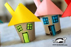 Cardboard tube houses for an all about me theme unit.  #kids crafts