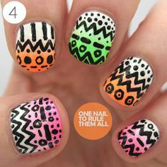 4 Steps To Realise This Neon Tribal Nail Art