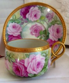 Limoges Cup and Saucer Handpainted Roses T & V