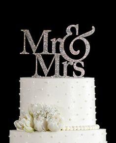 BREE>>>>>>Glitter Wedding Cake Topper - Mr and Mrs Cake Topper by Chicago Factory www.chicagofactory.com
