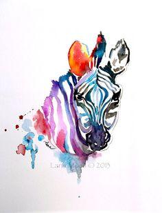 Fine Art Print from Original Watercolor Zebra illustration