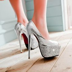 Silver high #heel shoes