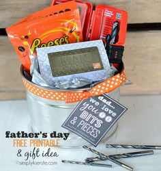 "Home Depot Gift Card + Drill Bits + Reeses Pieces = ""We Love You to Bits  Pieces"" Father's Day Gift (FREE PRINTABLE) 