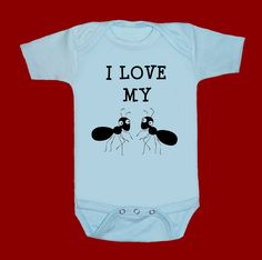 I LOVE my 2 AUNTS ANTS funny screenprint baby onesie bodysuit creeper one piece shower gift. $15.00, via Etsy.