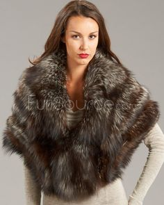 Fox Fur Wrap - Silver