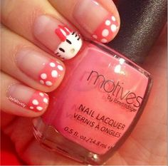 Cute hello kitty nail design by _laylalovely using motives nail lacquers in Melon Dramatic, Prissy Pink, Wedding Dress. All Motives products are available for US/CAN at www.IHEARTMOTIVES... or internationally at Global.Shop.com/heartmotives