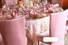 table settings, chair covers, wedding receptions, gold weddings, table clothes, color, pink weddings, flower, bridal showers