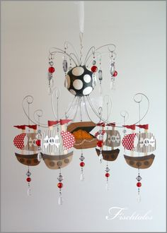pirate baby room | Pirate Ship Chandelier Mobile- baby Mobile- Nursery Mobile- boy