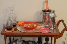 decorating a holiday bar cart with fab finds from Marshalls