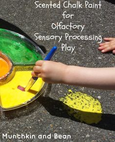 Scented Chalk Paint for Olfactory Sensory Processing Play  #kids #homedmade #scented #chalk #paint #olfactory #sensory #processing #play