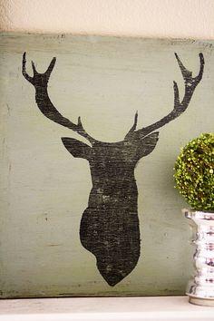 DEER STAG SILHOUETTE Vinyl, Applique, Adhesive, Sign, Custom,Transfer, Stencil, deer, stag, silhouette). $15.00, via Etsy.