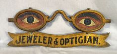 Antique folk art eyeglass painted & gilded optici