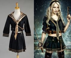 Movie Babydoll Cosplay Emily Browning costume  for  Sucker Punch  Cosplay
