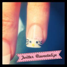 Hello Kitty nail art <3 #hellokitty #nailart #nails #frenchmanicure