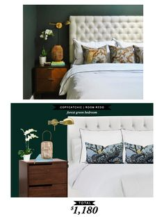 A dramatic forest green master bedroom featured in Apartment Therapy's Small Cool Contest. @Audrey Dyer recreated it for only $1180 and it's gorgeous.