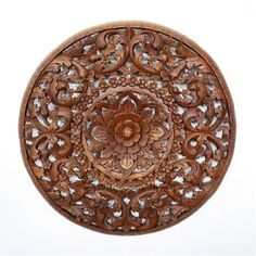 """#LotusFlower Teak Panel 36"""" #Walldecor #Homedecor #Woodart   Hand carved teak wood Thai Decor in a light teak oil finish. This 36"""" Diameter panel would be a great center piece for your home decor creations."""
