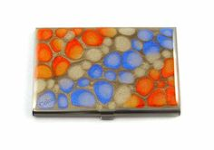 My favorite color combo - love blues with oranges | Business Card Case Orange and Blue Hand Painted with Glossy Enamel  | ColorsbyLiza - Accessories on ArtFire