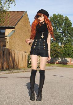 gothic style clothing, black outfits, high waisted shorts, shorts steampunk, redhead, dark fashion, hair, knee high socks, boots