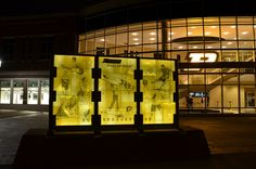 Back side All American wall at Purdue University made by GRT Glass Design We silked screened images through fused Bullseye Glass. Please visit us on FB and become a fan.