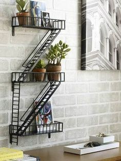 Urban Shelf | Miniature Fire Escape On Your Wall. Via Chiasso.