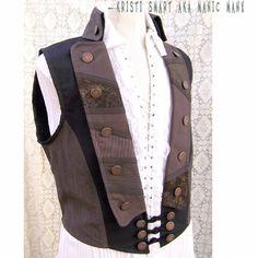 Steampunk men's vests | Steampunk pirate vest mens medium by ManicManx on Etsy