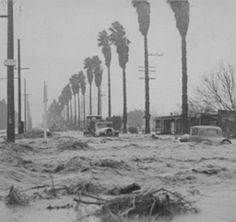 Sherman Way and Mason Avenue looking east, 1938. The Los Angeles River Flood in 1938 was one the worst floods in Southern California history. When the Big Tujunga Wash levee broke, seventy-seven of its spreading basins were destroyed, telephone and electrical power were shut down, and bridges all over the Valley were washed out. Canoga-Owensmouth Historical Society. San Fernando Valley History Digital Library.