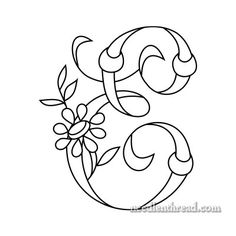 Monogram for Hand Embroidery: E via Mary Corbet