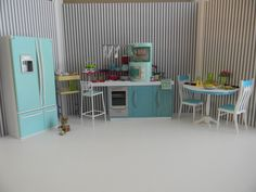 Barbie Doll House Furniture Kitchen Lot-Home Collection Kitchen/Fridge/Table