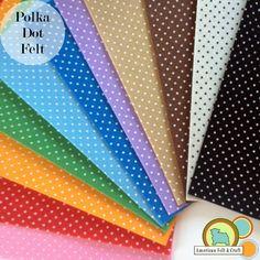 "Polka Dot Polyester Felt sheets extra large 11.5"" x 11.5"""