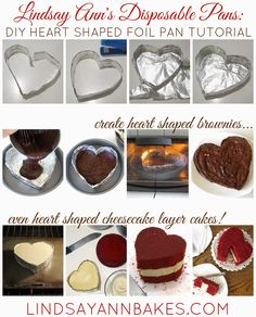 {VIDEO} DIY Disposable Baking Pans (heart shaped foil pans, parchment paper cheesecake pans, tuna can mini pans & more!) These are such a simple and inexpensive way to make pans in different shapes and sizes for just about any dessert, using things like foil, parchment paper and things you might already have in your kitchen, like ramekins and tuna cans!
