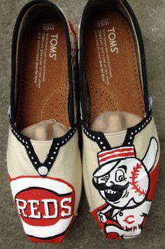 Cincinnati Reds Baseball Painted Toms on Etsy, $50.00