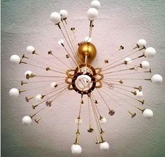 DIY Sputnik light. It's a really easy, totally customizable Ikea hack. Chandelier is rewired for a very bright light.