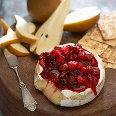 baked brie with an apple cranberry relish.