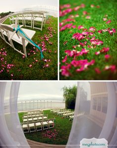 #outdoor wedding #garden ceremony #beach #rose petals #aisle #altar