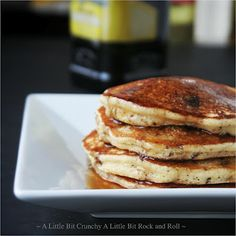 Olive Oil Dark Chocolate Chip Pancakes from A Little Bit Crunchy A Little Bit Rock and Roll #breakfast